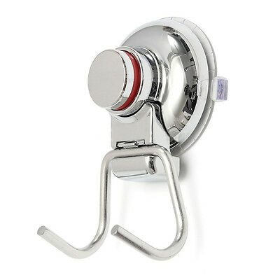 Bathroom Kitchen Stainless Steel Double Hook Strong Vacuum Suction Cup Hanger S*