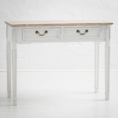 New England Shabby Chic White Painted 2 Drawer Hall, Console or Side Table