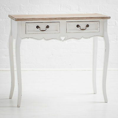 Romance Shabby Chic White Painted 2 Drawer Hall, Console Or Side Table