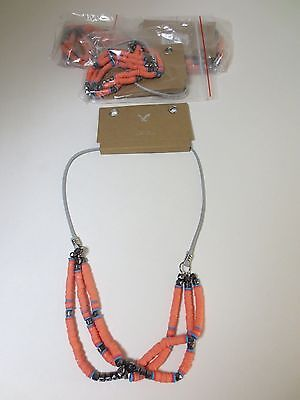 American Eagle Outfitters AEO Orangae Disc Collier Necklace NWT $17.50 set of 2