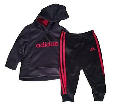 NWT Adidas Boys' 2-piece Set Activewear Hooded Pull OverTop Gray Red black sz.2T