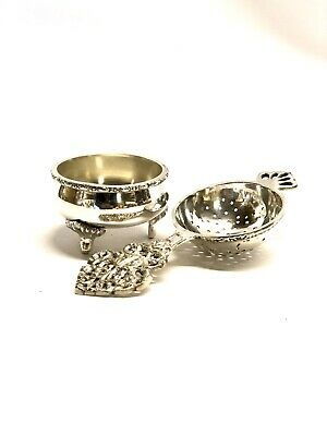 Antique Vintage Tea Strainer Silver Plated EPNS & Drip Tray for Loose Tea