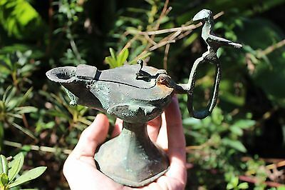 Antique Islamic Persian Seljuk Empire bronze lamp, 1037-1194