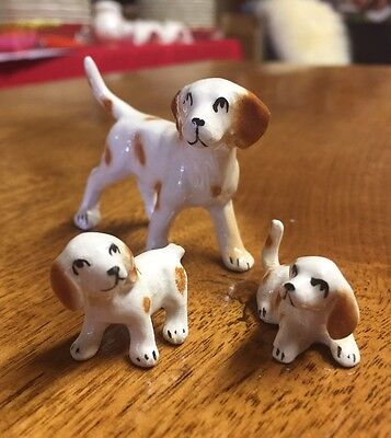 3 Brown Spotted Dog Family Figurines Puppies Ceramic Miniature