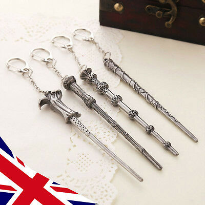 Harry Potter Wand Keyring chain - Dumbledore Voldemort Hermione Movie - UK