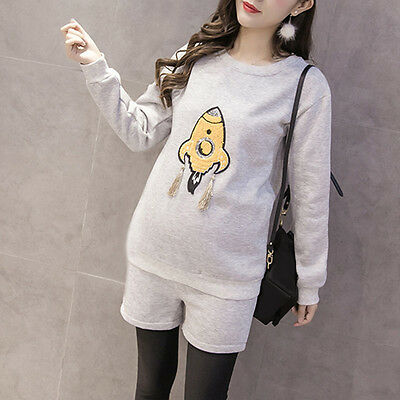 Pregnant Women Outfits Crew Neck Tops Plush Lining Pants Maternity Clothing Suit