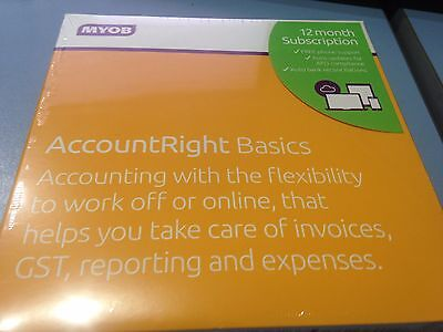 BRAND NEW SEALED MYOB AccountRight Basics 12 Month Subscription 1 Computer