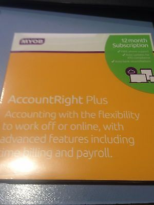 BRAND NEW SEALED MYOB AccountRight Plus 12 Month Subscription 1 Computer