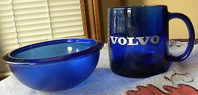 Rare VOLVO Cobalt Blue Glass COFFEE MUG Cup with BLUE BOWL Unused MADE in FRANCE