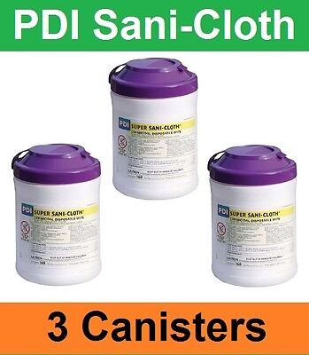 "Lot of 3! Super Sani-Cloth Hard Surface Disinfectant Wipes, Pull-Up 6""x7"" Q55172"