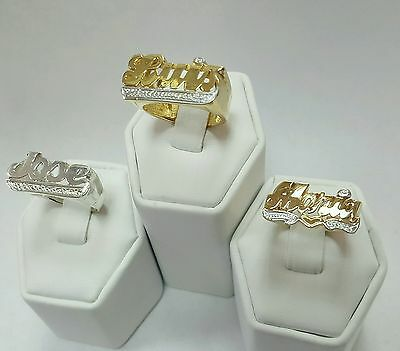 Custom Hand-Made Name Ring in Gold or in Silver (YOUR NAME ON RING) With Design