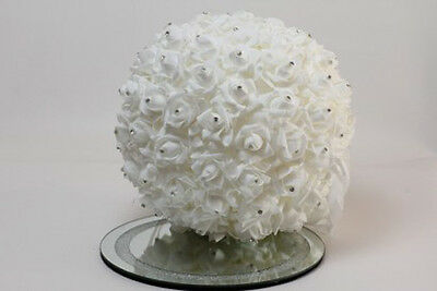 White Round Rose Ball with Diamonds (BALL 4 + D (80))