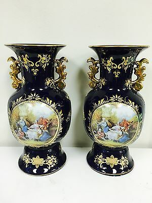 """Pair of  Large porcelain vases. Limoges. Approx 14.50"""" Height Beautiful Pair"""