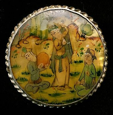 Beautiful Antique Enameled Shell Persian Pictorial Button In Silver Belly Dancer