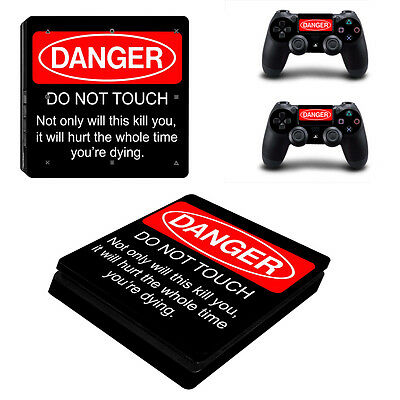 Danger Do Not Touch Vinyl Skin Sticker for Sony PS4 Slim Console & 2 Controllers