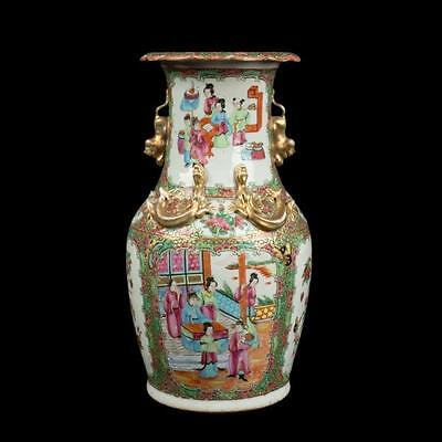 China 19. Jh. A Chinese Canton Famille Rose Vase - Qing Chinos Vaso Cinese