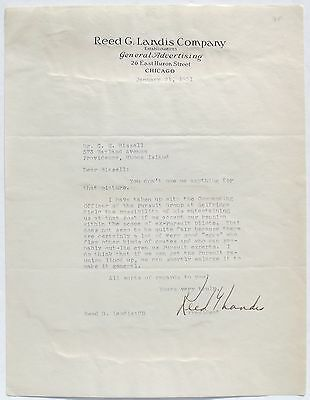 Reed G. Landis WW I Ace 25th Aero Squad & RAF 12 Victories Signed Letter ''Rare'