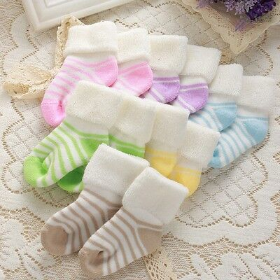 Cute Newborn Toddler Baby Girl Boy Warm Stripe Thickening Cotton Soft Socks 0-3Y