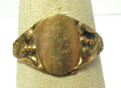 "Victorian Rose Gold Filled Signet Initial Ring Size 5.75  ""jg"" 10 Mm Wide"