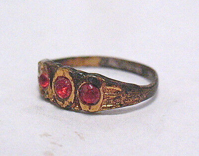 Victorian Gold Filled Red Stone Ring For Child Baby