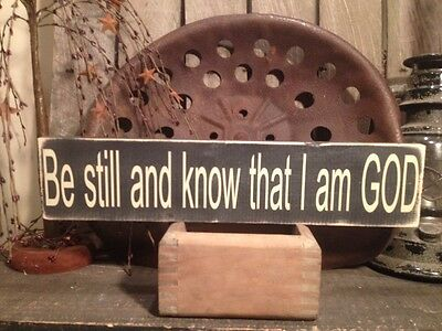 Country Primitive Handmade Wooden Know That I Am God Sign Farmhouse  Decor