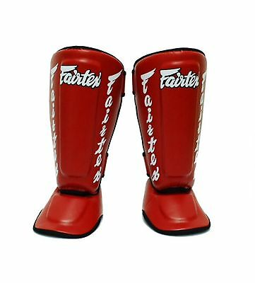 Fairtex Twister Shin Guards / In Steps SP7 Red Medium Muay Thai MMA Kick Boxin