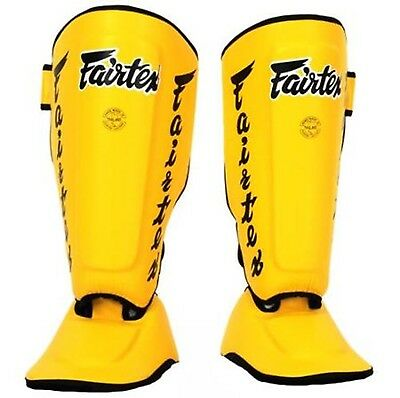 Fairtex Twister Shin Guards  In Steps SP7 Yellow XL Muay Thai MMA Kick Boxin
