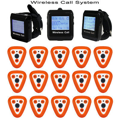New 15 Restaurant Wireless Calling System Pagers +3pcs Watch Receiver 433MHz ON