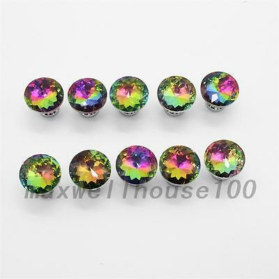 10PCS Crystal Glass Cupboard Handles Diamond Door Knobs Cabinet Pulls