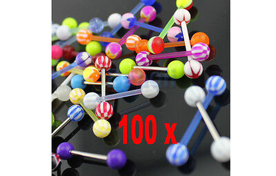 Wholesale Acrylic 100pcsTongue studs Barbell with Stianless/UV Bars Body Jewelry