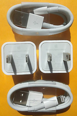 2x Authentic Original Apple iPhone 6 5s Lightning USB Data Cable+charger Cube