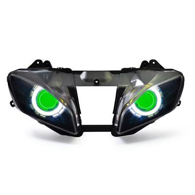 KT LED Angel Halo Demon Eye Headlight Assembly For Yamaha YZF R6 2008-2016 Green