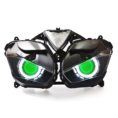 KT LED Angel Halo Eyes Projector Headlight Assembly for Yamaha R3 2015+Green