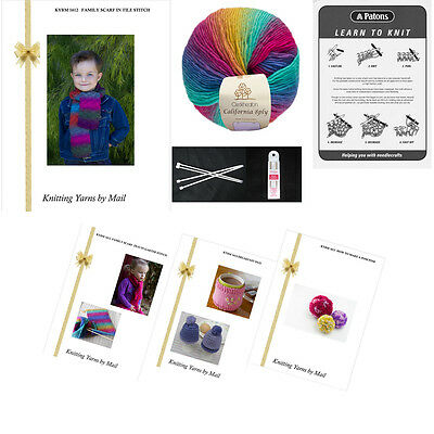 Beginners Learn to Knit Starter Kit *Great Gift* yarn, patterns, needles + more