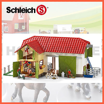 NEW SCHLEICH LARGE FARM HOUSE BARN with ANIMALS & ACCESSORIES FARM WORLD 42333