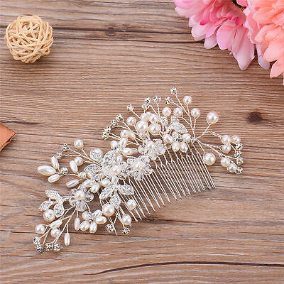 Women White Wedding Bride Bridal Crystal Lace Flower Party Hair Headband Prop