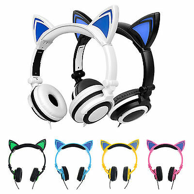 Foldable Cat Ear LED Music Lights Headphones Stereo Earphone for Android iOS