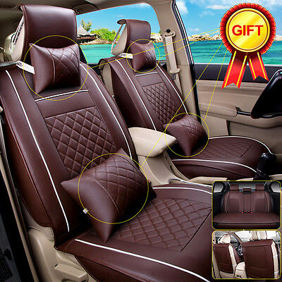 Size M PU Leather Car Seat Cover 5-Seats Front & Rear W/Neck Lumbar Pillow 7pcs
