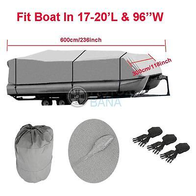 New 600D Heavy Duty Fit 17' 18' 19' 20' ft Pontoon Boat Cover WaterProof Fabric