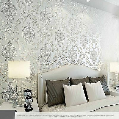 10M European Style Wallpaper Natural Non-woven Damask Embossed Wall Paper Rolls