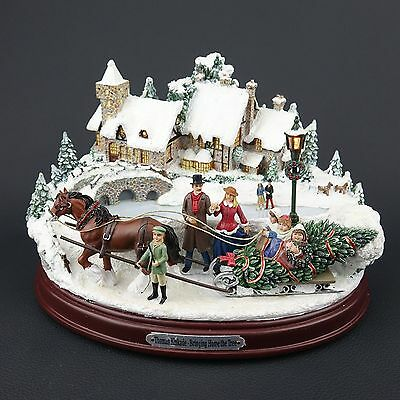 Thomas Kinkade Christmas Sculpture With Lights And Music: Bringing Home The Tree