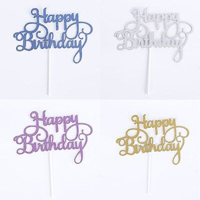 2016 New Silver Cake Topper Happy Birthday Party Supplies Decorations Kids Rose