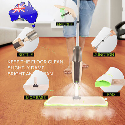 New Spray Microfiber Flat Mop Cleaner Home Floor Bath Kitchen Sweeper Broom AU