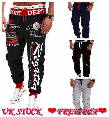 Mens Casual Tracksuit Gym Training Jogging Joggers Sweat Pants Bottoms Trousers