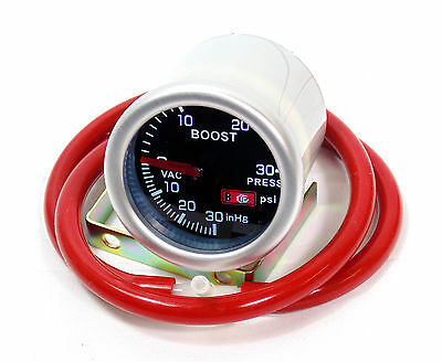 Smoked 52mm Turbo Boost gauge Psi Ford Focus Fiesta Mondeo With Red Silicone