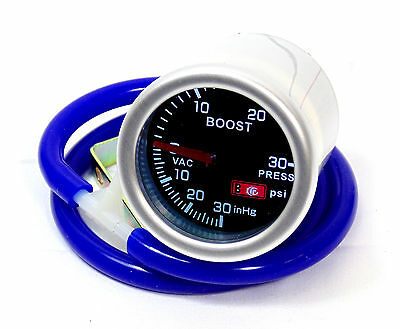 Smoked 52mm Turbo Boost gauge Psi Evo  Smartcar With Blue Silicone