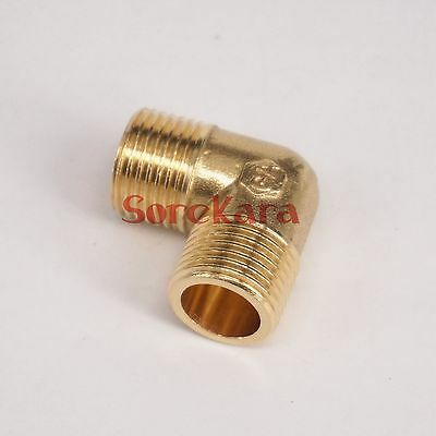 """LOT 2 Brass ELbow Pipe fitting Connector 1/4"""" BSP male to 3/8"""" BSP male"""