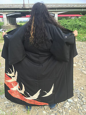 Vintage Japanese Kimono for Casual Outer Clothes (Men and Women) Black Crane