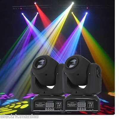 2x RGBW Mini LED Spot Moving Head Light DJ Club Show Gobo Beam Lighting DMX-512