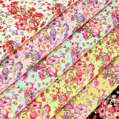 Cotton Poplin Fabric FQ Dot Graphic Printed Flower Bouquet Quilt FabricTime VK96